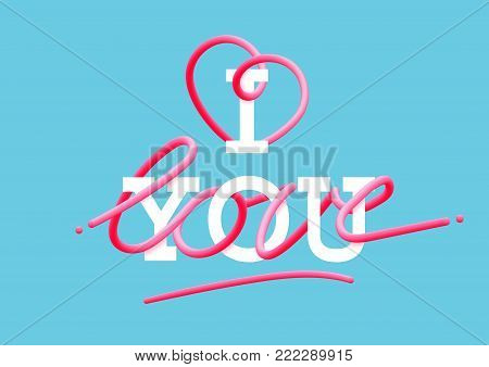 I love you creative pink lettering Glossy blended letters. 3D bubble font. Typography vector illustration. interlaced text.