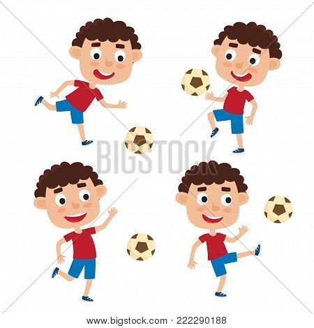 Vector illustration of curly little boys in shirt and short playing football. Set of cute cartoon kids kicking soccer ball isolated on white background. Pretty football players. Happy children.