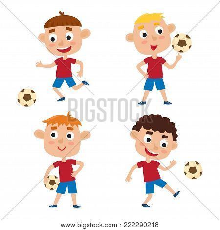 Vector illustration of little boys in shirt and short playing football. Set of cute cartoon kids kicking soccer ball isolated on white background. Pretty football players. Happy children.