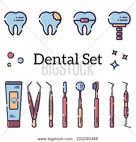 Vector set of flat dental tools and teeth with caries, braces and an implant. Isolated objects on white background in a line art style