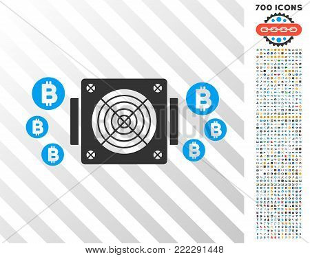 Bitcoin Mining Asic Device icon with 7 hundred bonus bitcoin mining and blockchain clip art. Vector illustration style is flat iconic symbols designed for bitcoin software.