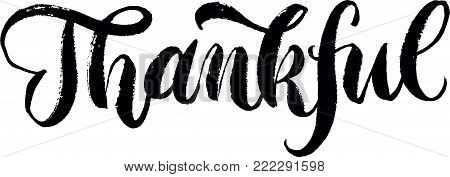 Thankful lettering. Brush pen hand drawn calligraphy. Handwriting Inscription. Hand drawn vector ink. Black on white.