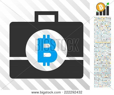 Bitcoin Business Case icon with 700 bonus bitcoin mining and blockchain symbols. Vector illustration style is flat iconic symbols designed for crypto-currency websites.