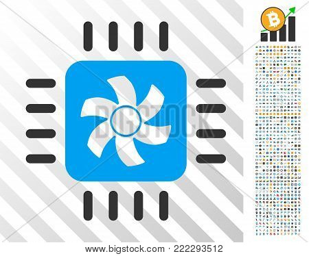 Cpu Cooler pictograph with 700 bonus bitcoin mining and blockchain design elements. Vector illustration style is flat iconic symbols designed for crypto-currency websites.