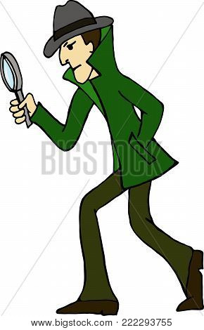 Cartoon character. Detective look through magnifying glass and look for evidence. Vector color illustration