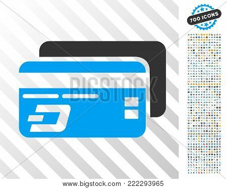 Dash Bank Cards pictograph with 7 hundred bonus bitcoin mining and blockchain graphic icons. Vector illustration style is flat iconic symbols designed for cryptocurrency websites.