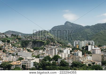Rio de Janeiro neighbourhood of Tijuca and outlying favelas on the foot of the Christ the Redeemer mountain