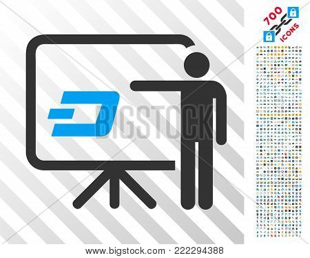 Dash Board Presentation Person icon with 700 bonus bitcoin mining and blockchain icons. Vector illustration style is flat iconic symbols designed for bitcoin apps.