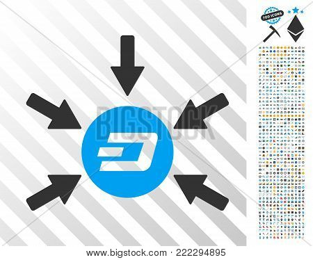 Dash Coin Income Arrows icon with 7 hundred bonus bitcoin mining and blockchain clip art. Vector illustration style is flat iconic symbols designed for crypto-currency websites.