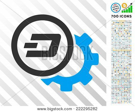 Dash Configuration Gear pictograph with 700 bonus bitcoin mining and blockchain pictures. Vector illustration style is flat iconic symbols designed for blockchain websites.
