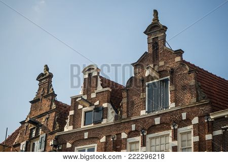 Historic 17th century house fronts with stepped gables at Groenmarkt in Zutphen, Holland