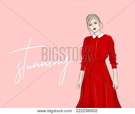 Hand drawn woman in red collar dress fashion illustration. Modern shopping sketch. Vector illustration magazine look print.  Stunning blonde girl in romantic dress