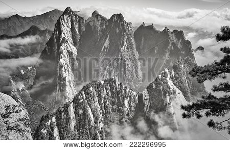 Scenic view from the Mount Hua, one of the most popular travel destinations in China.