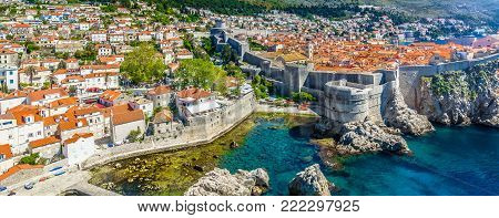 Aerial panorama od Dubrovnik coastal town in Southern Croatia, famous european summertime travel places.