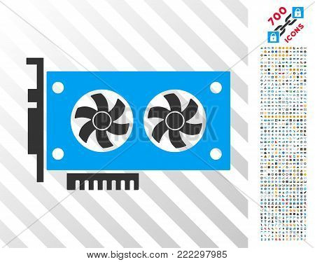 Dual Gpu Videocard pictograph with 7 hundred bonus bitcoin mining and blockchain design elements. Vector illustration style is flat iconic symbols designed for crypto-currency apps.