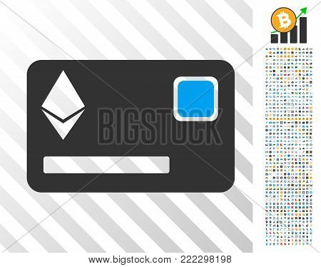 Ethereum Credit Card icon with 7 hundred bonus bitcoin mining and blockchain pictures. Vector illustration style is flat iconic symbols designed for blockchain software.