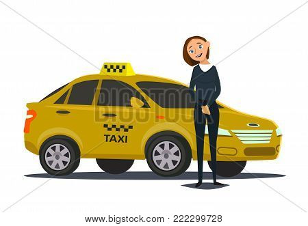 Girl taxi driver.Vector illustration in flat style.