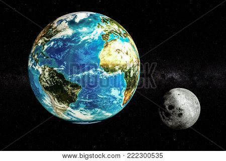 Earth and Moon in space concept, 3D rendering