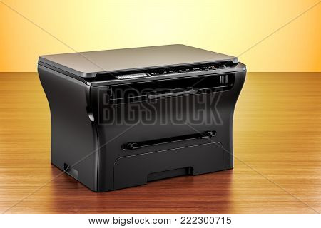 office multifunction printer MFP on the wooden table. 3D rendering