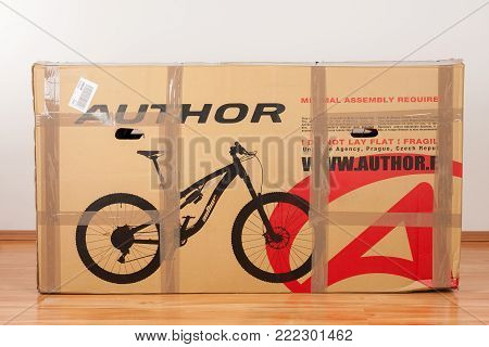 Brnenec, Czech Republic-April 9,2017: Bike Author Traction in paper box. Author is a Czech brand of bicycles, bike accessories and sporting goods