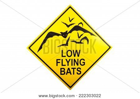 Low Flying Bat sign against a white background