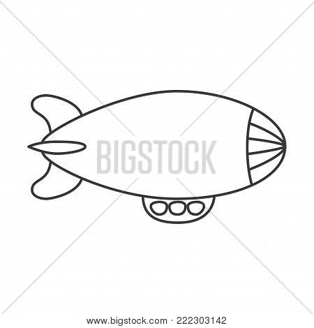 Airship blimp. Retro zeppelin isolated on background. Dirigible balloon. Travel, trip, adventure time concept. Vector line illustration.