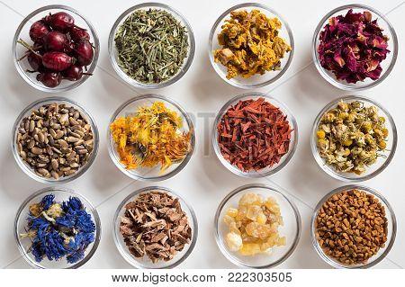 Selection of herbs on white background - dried rose hips, horsetail, mullein, rose petals, milk thistle, calendula, sandalwood, chamomile, cornflower, oak bark, frankincense resin, fenugreek