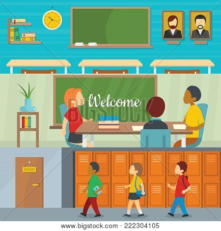 Classroom school study banner horizontal concept set. Flat illustration of 3 classroom school study vector banner horizontal concepts for web