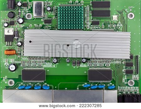 Ethernet switch green board top view, green PCB used.
