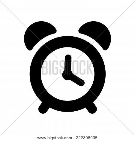 Alarm clock icon isolated on white background. Alarm clock icon modern symbol for graphic and web design. Alarm clock icon simple sign for logo, web, app, UI. Alarm clock icon flat vector illustration, EPS10.