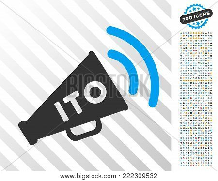 Ito Alert Megaphone pictograph with 7 hundred bonus bitcoin mining and blockchain design elements. Vector illustration style is flat iconic symbols designed for blockchain websites.