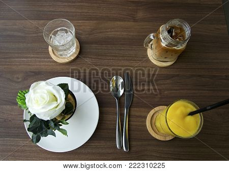 Have breakfast and coffee with orange juice for breakfast