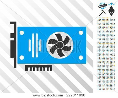 Videocard icon with 7 hundred bonus bitcoin mining and blockchain pictograms. Vector illustration style is flat iconic symbols designed for crypto currency websites.