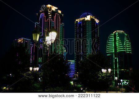 Russia. Chechen Republic. Grozny city at night September 1 2017