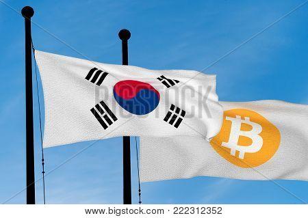South Korea flag and Bitcoin Flag waving over blue sky (3D rendering)