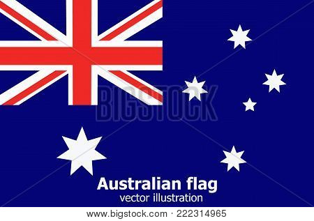 Bright background with flag of Australia. Happy Australia day background. Illustration for holiday Australia. Bright illustration with flag and stars.