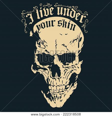 Skull with a lower jaw print, Hand drawn Detailed sketchy t-shirt design, dead head vintage tee graphics. vector