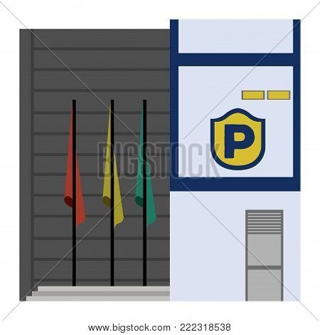 Front view of a police station, Vector illustration
