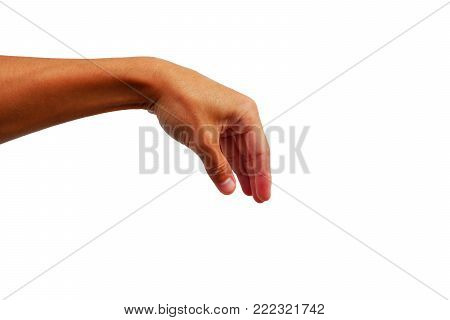 Close Up Of Hand Reach Out For Catch Somthing On White Background.