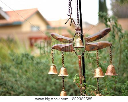 Golden Bronze Dragonfly Garden Ornament and Wind Chime with Bells