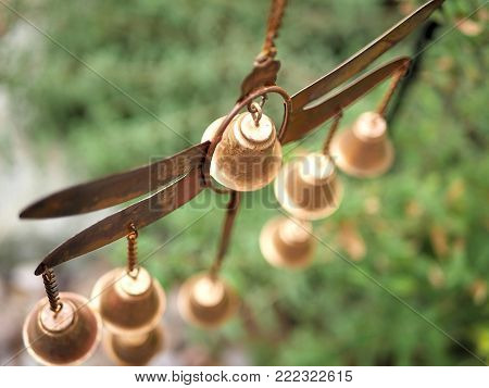 Golden Dragonfly Wind Chime Bells with Plants for Garden Decor