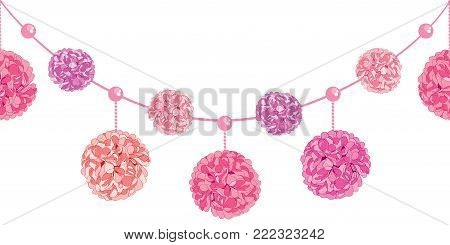 Vector Set of Dangling Pink Birthday Party Paper Pom Poms and Beads Set Horizontal Seamless Repeat Border Pattern. Great for handmade cards, invitations. Party decor.