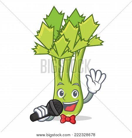 Singing celery mascot cartoon style vector illustration