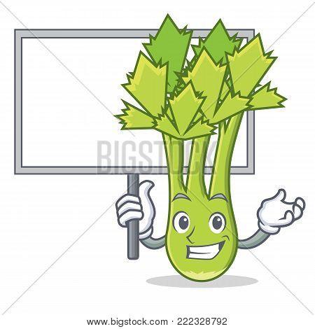 Bring board celery character cartoon style vector illustration