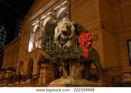 Art Institute of Chicago South Lion Statue, adorned and decorated with a Christmas Wreath, Chicago, IL, November 30, 2017
