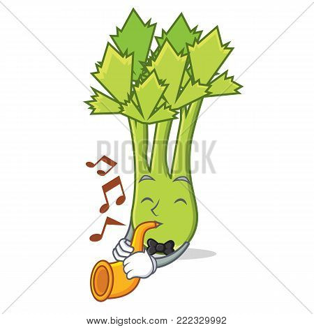 With trumpet celery mascot cartoon style vector illustration