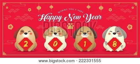 2018 year of the dog banner design. Cute cartoon dogs with couplet of 2018 and Chinese New Year design elements on red background.