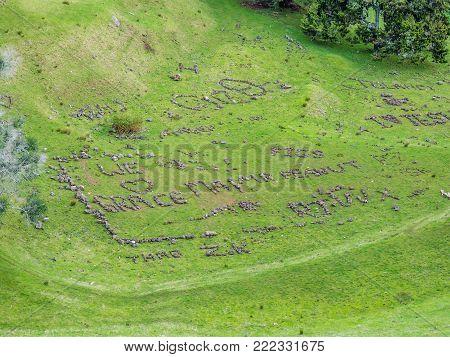 Writing with stones, Mount Eden, Auckland, New Zealand