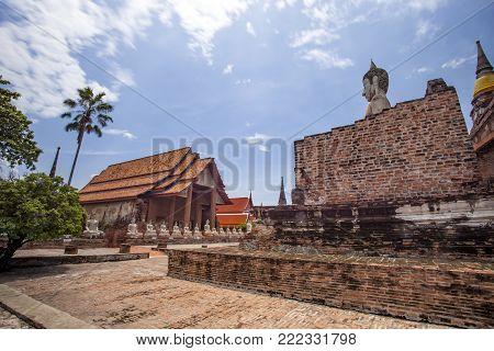 beautiful scenic of wat yai chai mongkol ayuthaya province thailand unesco world heritage site