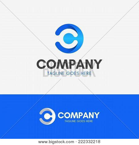 Letter C Modern Logo template icon symbol blue gradient with negative space